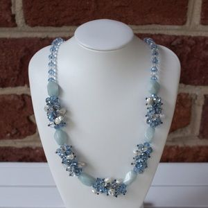 Pearl and Crystal Cluster Statement Necklace